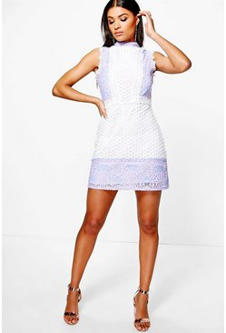 Womens Ivory Boutique Crochet & Lace Panel Shift Dress
