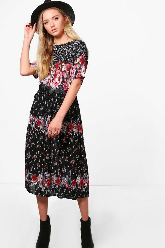 Frankie Floral Short Sleeved Midi Dress