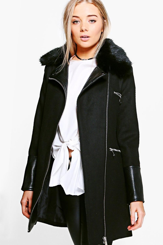 5315608d1 Freya Faux Fur Trim Biker Coat | Boohoo