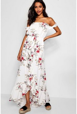 Floral Off Shoulder Ruffle Wrap Maxi Dress, Multi, Donna