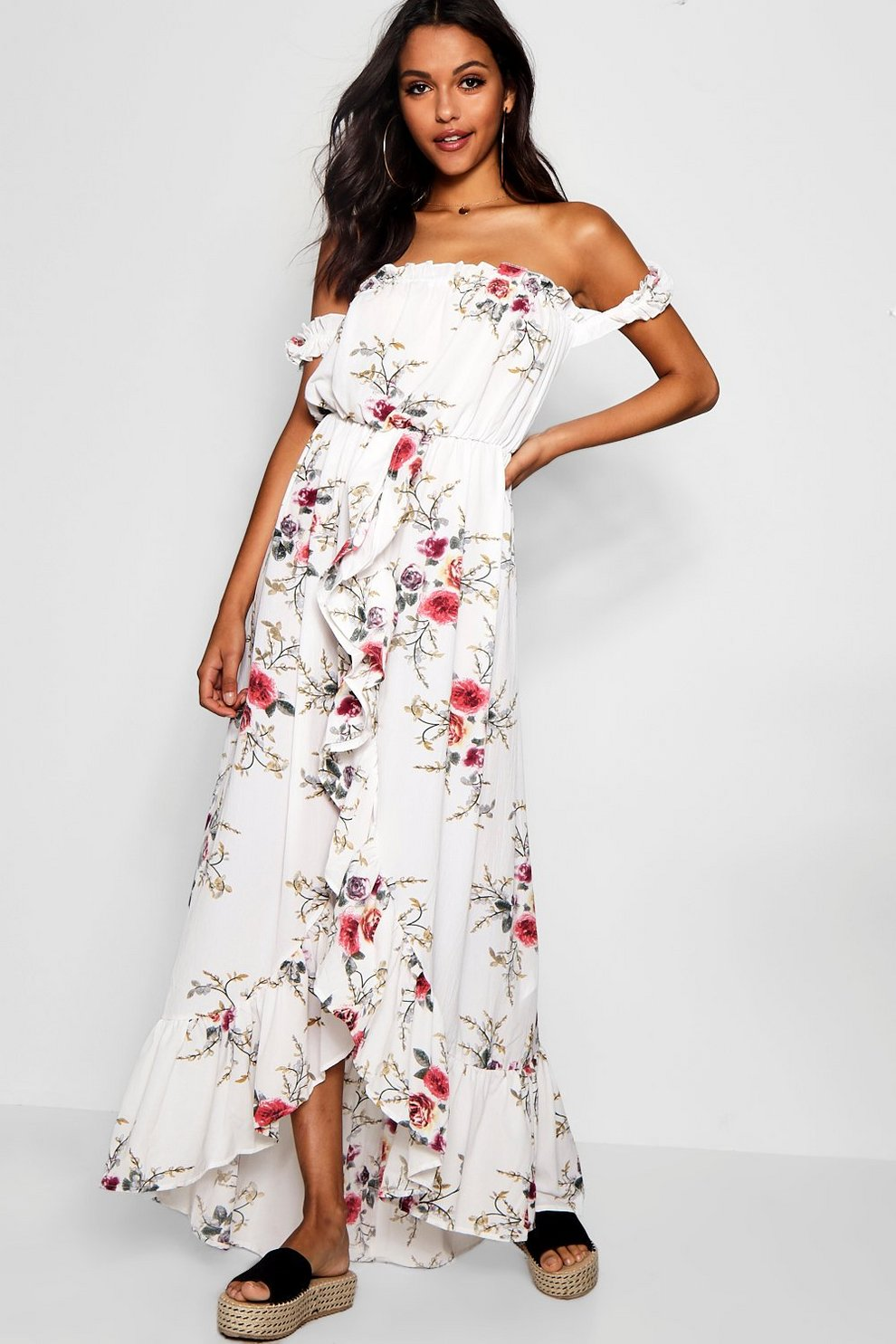 0dd1526058 Womens Multi Floral Off Shoulder Ruffle Wrap Maxi Dress. Hover to zoom