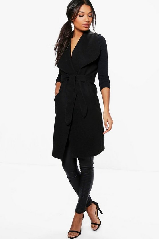 Womens Black Karina Sleeveless Coat