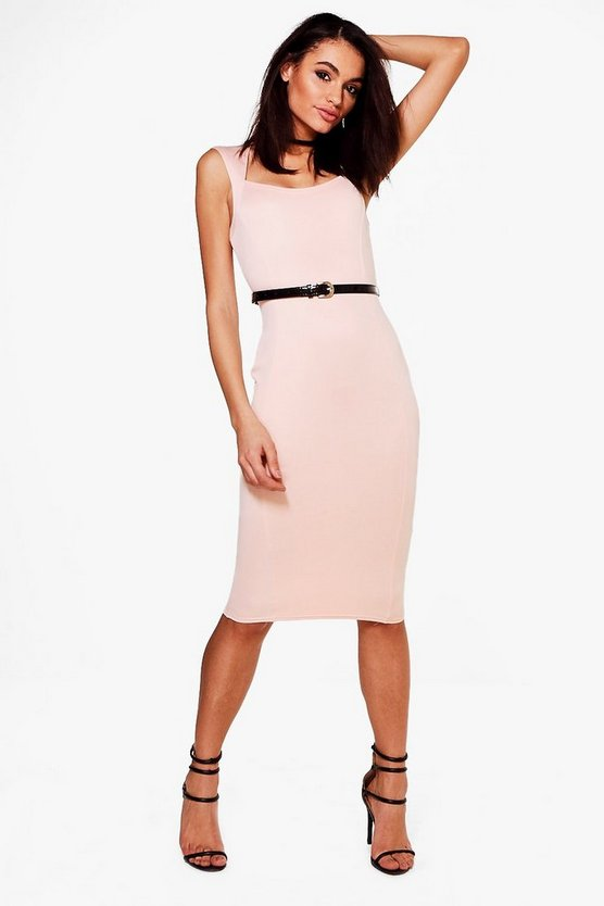 Victoria Tailored Belted Midi Dress