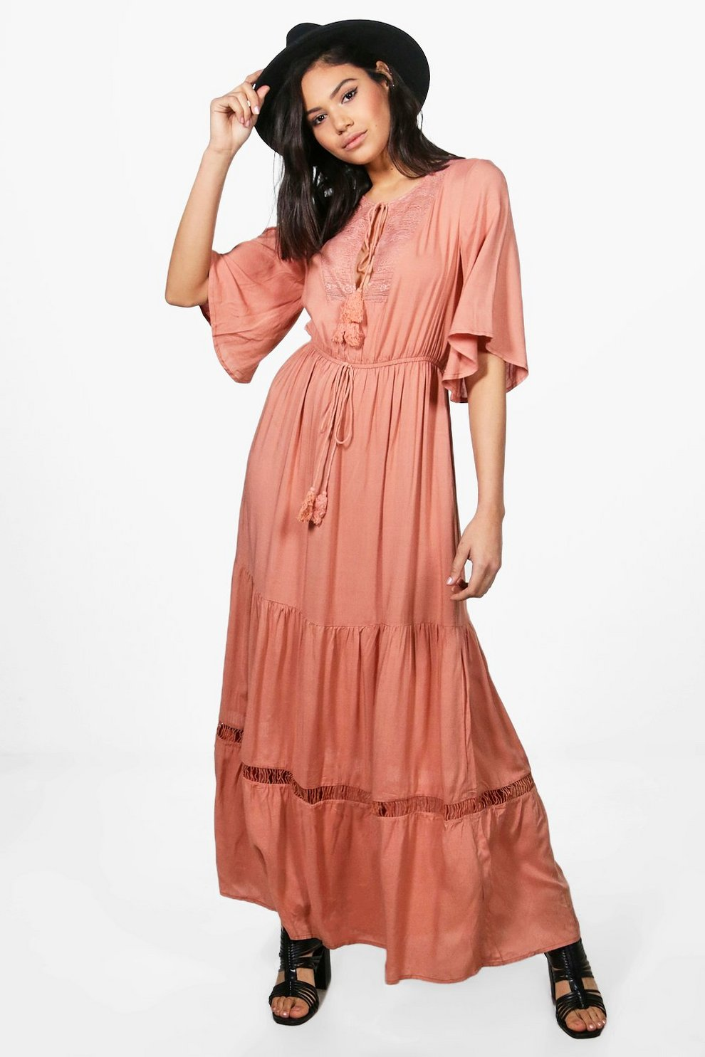 84c0a797ee7 Womens Antique rose Keley Angel Sleeve Lace Panel Maxi Dress