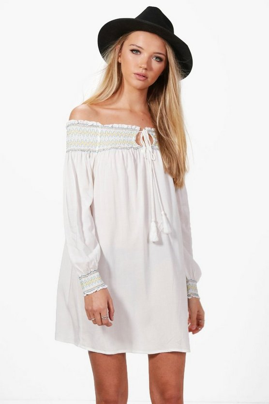 Zana Embroidered Sleeved Shift Dress