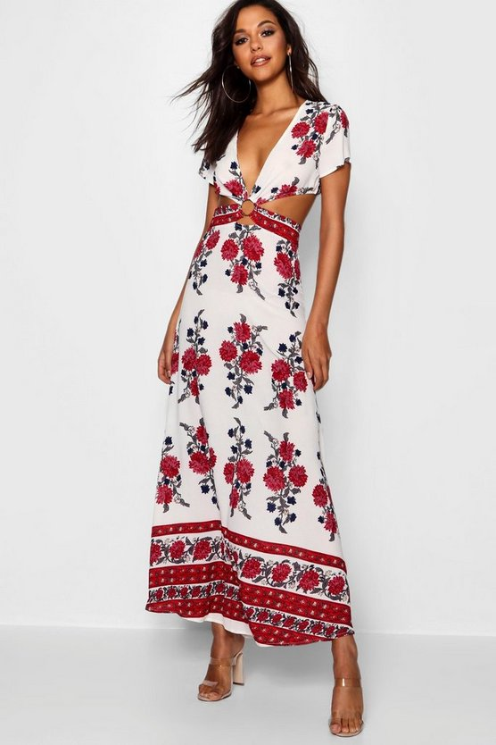 Womens White Cut Out Border Print Floral Maxi Dress