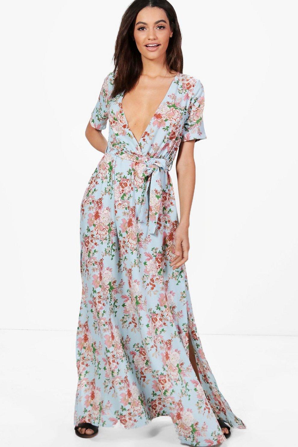 64445a994c7 Evie Floral Wrap Front Maxi Dress