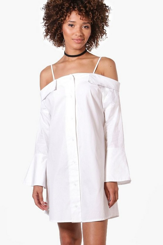 Lisa Off The Shoulder Flute Sleeve Shirt Dress
