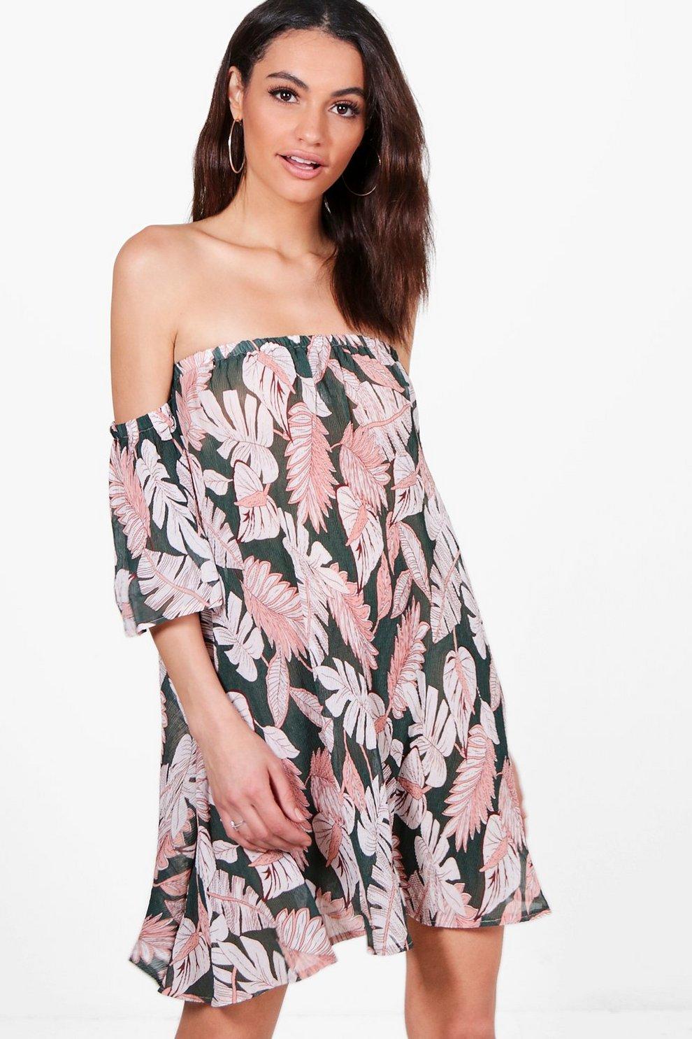 Kleid mit palmen print