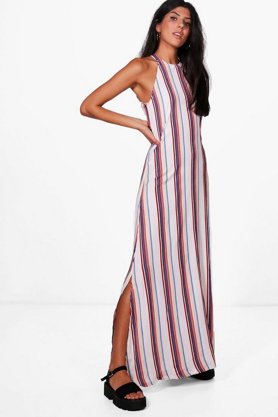 Womens Red Fi Stripe Column Scoop Back Maxi Dress