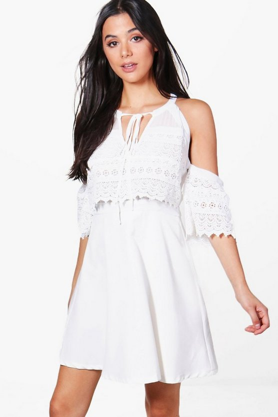Cold Shoulder Lace Skater Dress