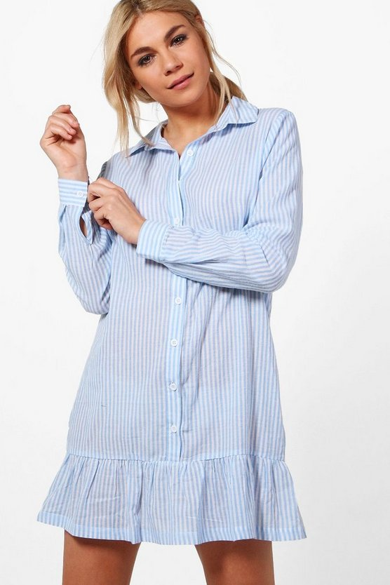 Hannah Ruffle Hem Stripe Shirt Dress