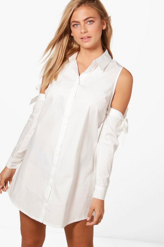 Cold Shoulder Tie Sleeve Shirt Dress