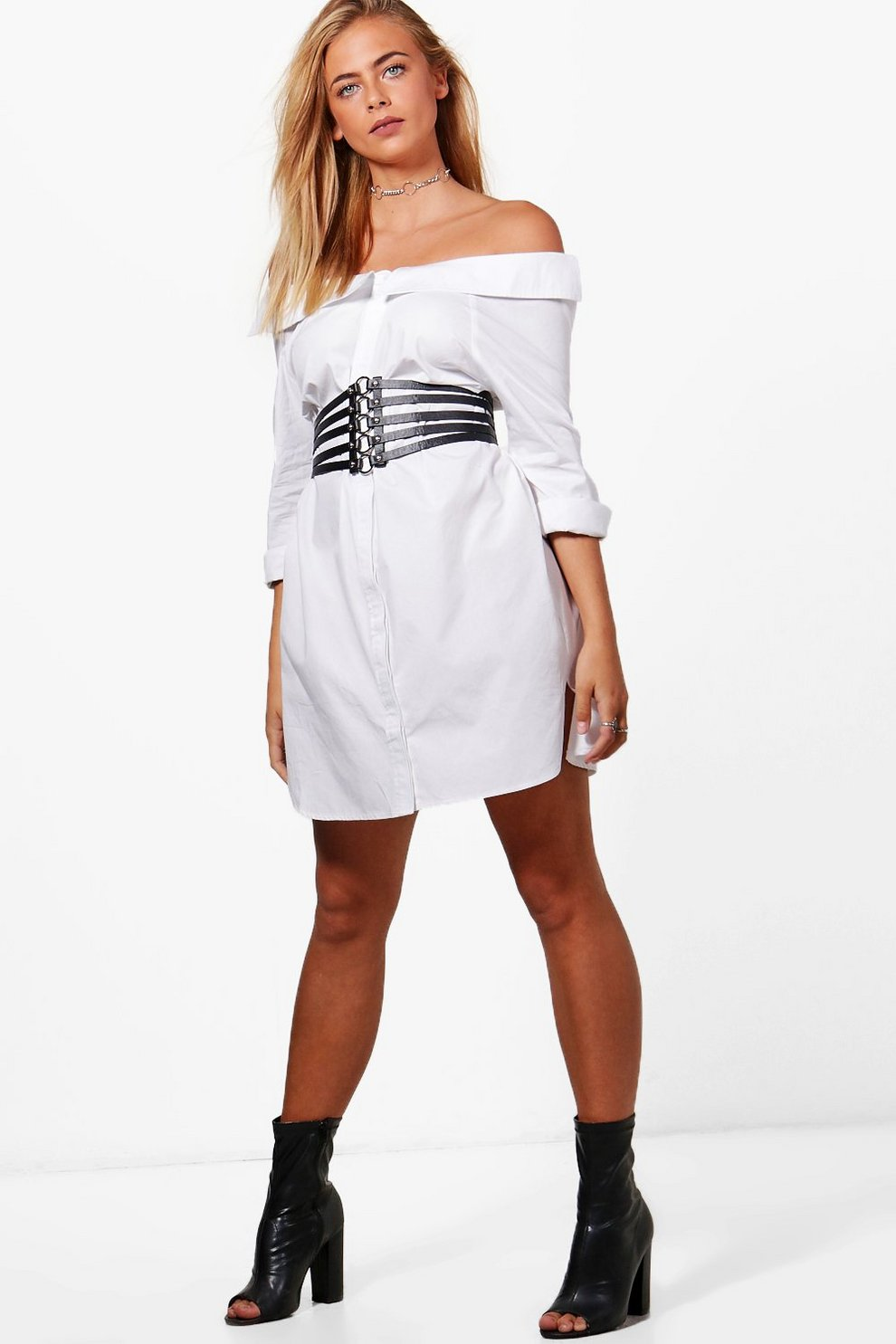 f876e3b730ee Off Shoulder Shirt Dress