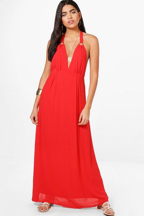 Eyelet Strappy Back Maxi Dress