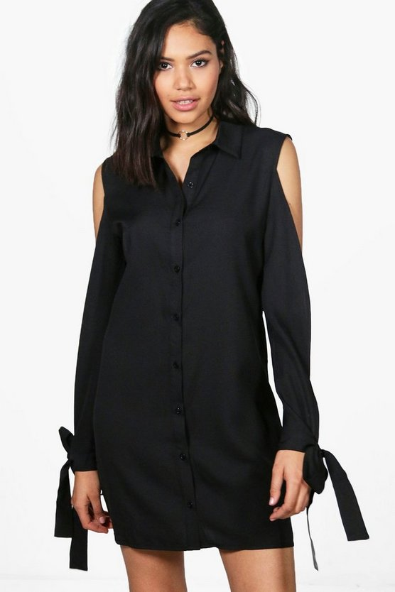 Sarah Cold Shoulder Tie Sleeve Shirt Dress