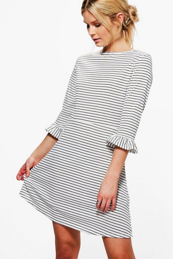 Stripe Frill Sleeve Skater Dress