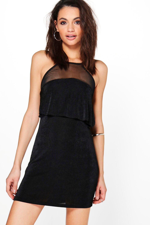 2804f104b3d Womens Black Bernadette Strappy Mesh Insert Dress