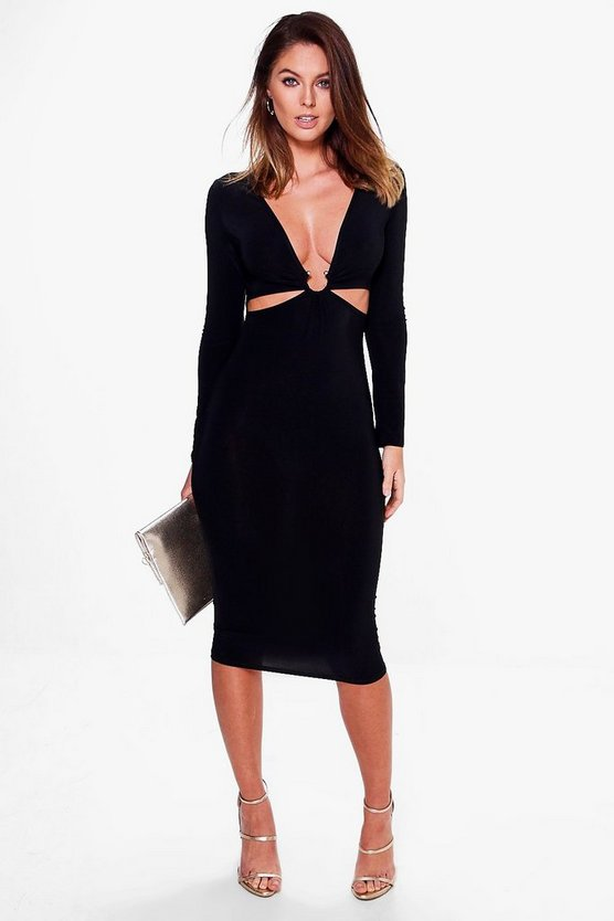 Freyja Plunge Ring Detail Long Sleeve Midi Dress