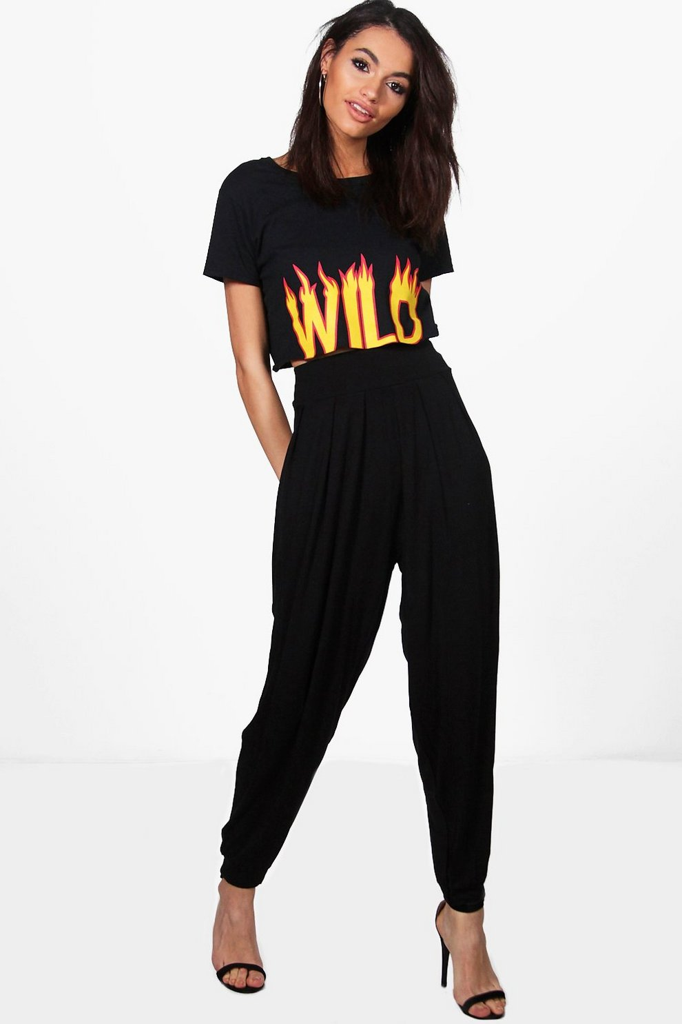 a5907bf9d4f4 Pleat Front Jersey Hareem Trouser | Boohoo