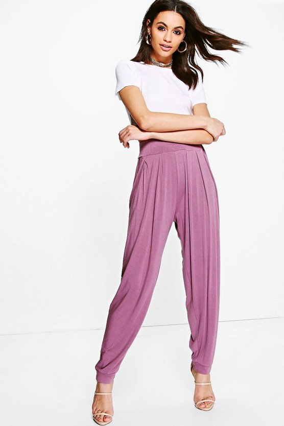 Mauve Pleat Front Jersey Hareem Pants