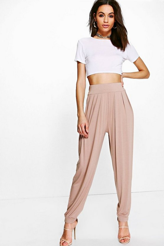Womens Sand Pleat Front Jersey Hareem Trouser