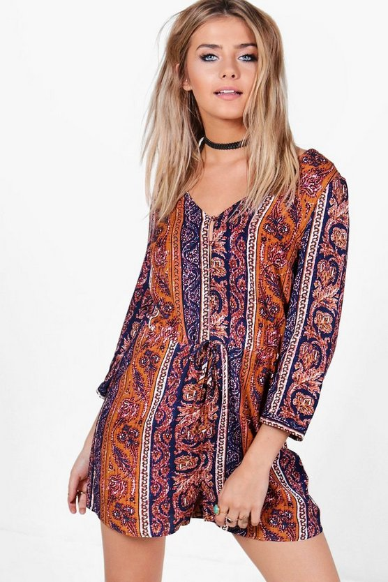 Womens Multi Jenny Printed Button Front Playsuit