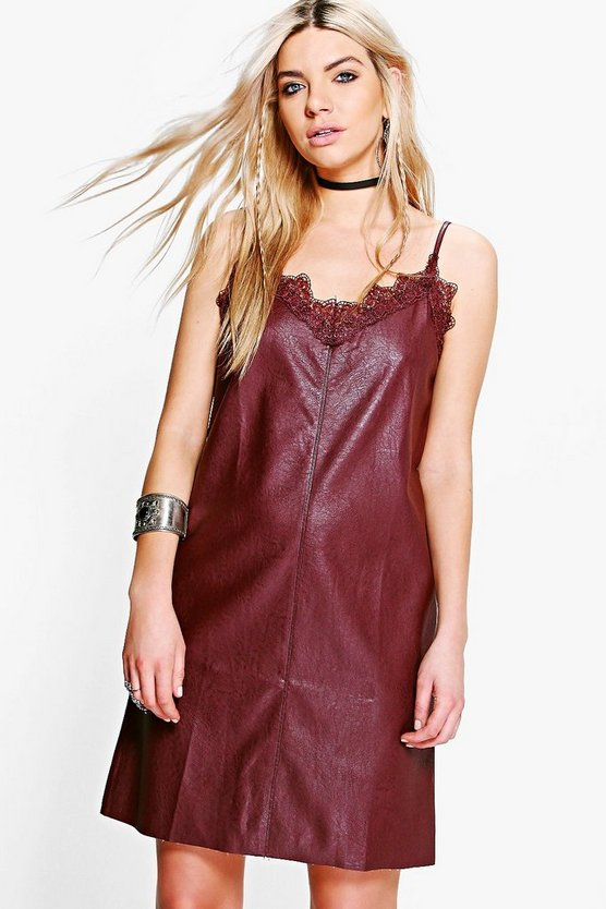 Womens Wine Boutique Jess PU Slip Dress
