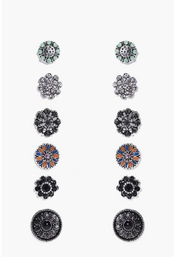 Multi Floral Stone Stud 6 Earring Set