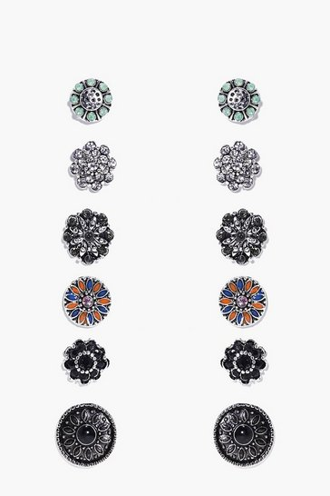 Womens Multi Floral Stone Stud 6 Earring Set