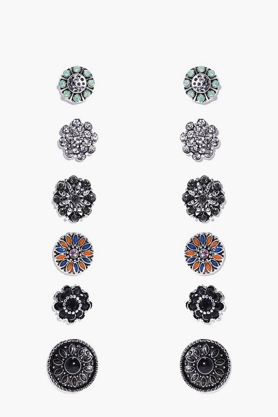 Floral Stone Stud 6 Earring Set