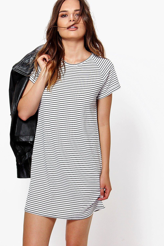 black and white striped tee shirt dress