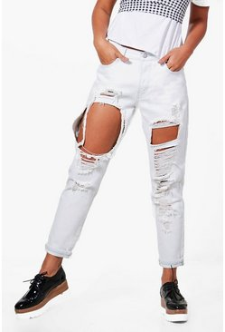 Womens Blue Jen Rise Ultra Bleached Distressed Boyfriend Jeans