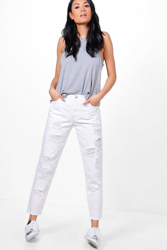 Amy Mid Rise Fray Hem Distressed Jeans
