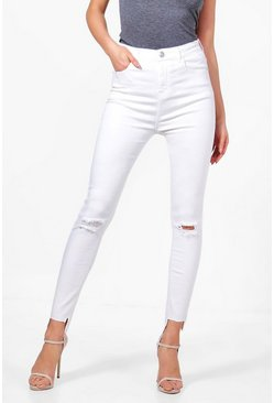 Womens White High Rise Slit Knee Step Hem Skinny Jeans