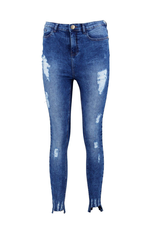 bajo roto de con skinny rasgados medio talle Azul alto Jeans wxqXYB055