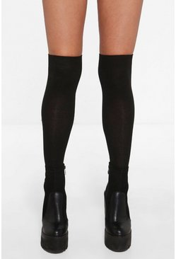 Womens Black Knee High Socks
