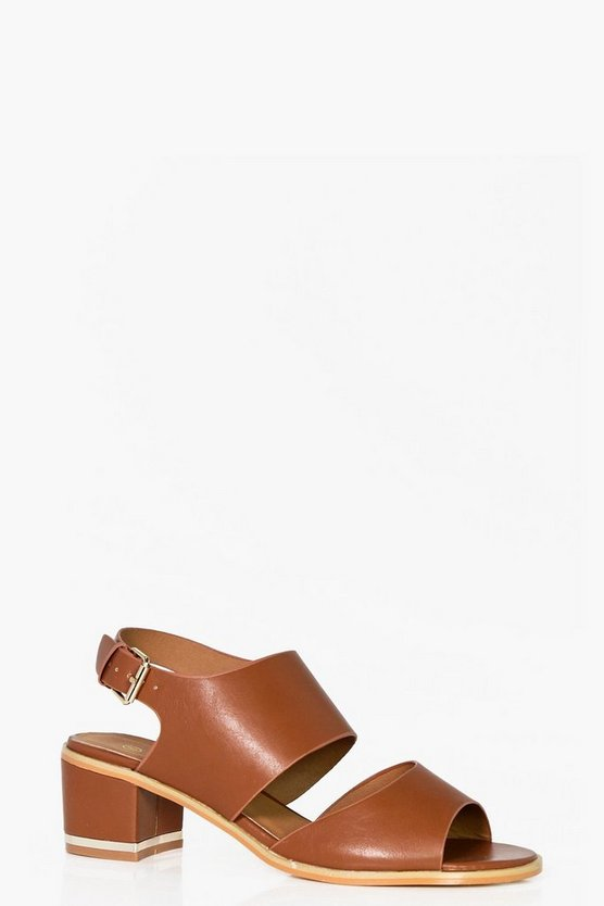 Wide Fit Cut Out Block Heel Sandals