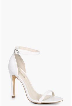 Womens White Two Part Heels