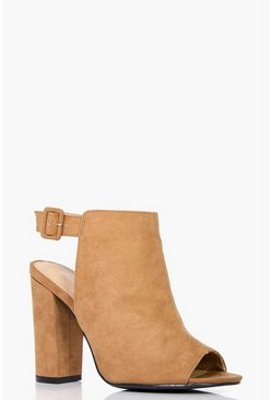 Womens Tan Wide Fit Peeptoe Shoe Boots