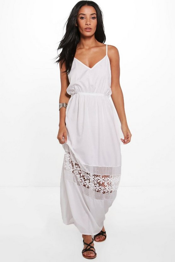 Sally V Neck Crochet Trim Maxi Dress