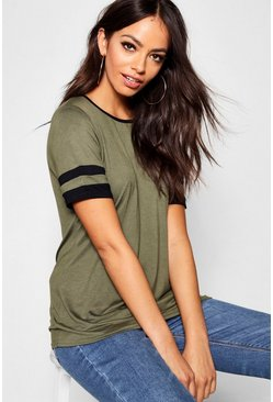 Womens Khaki Short Sleeve Stripe Tee