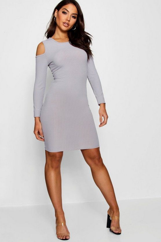 Womens Grey Square Cold Shoulder Ribbed Bodycon Dress