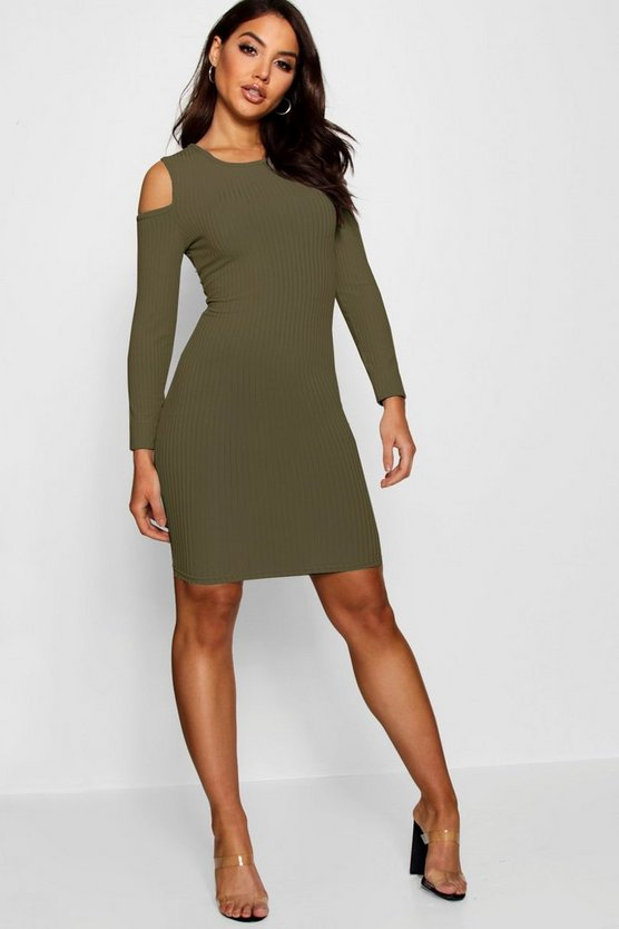 Square Cold Shoulder Ribbed Bodycon Dress