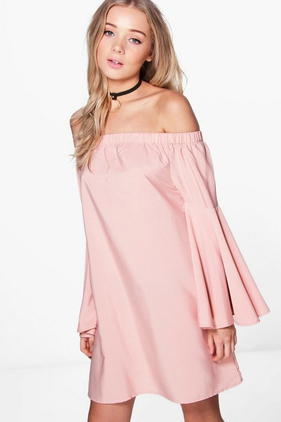 Womens Dusky pink Frey Extreme Flare Sleeve Off Shoulder Dress