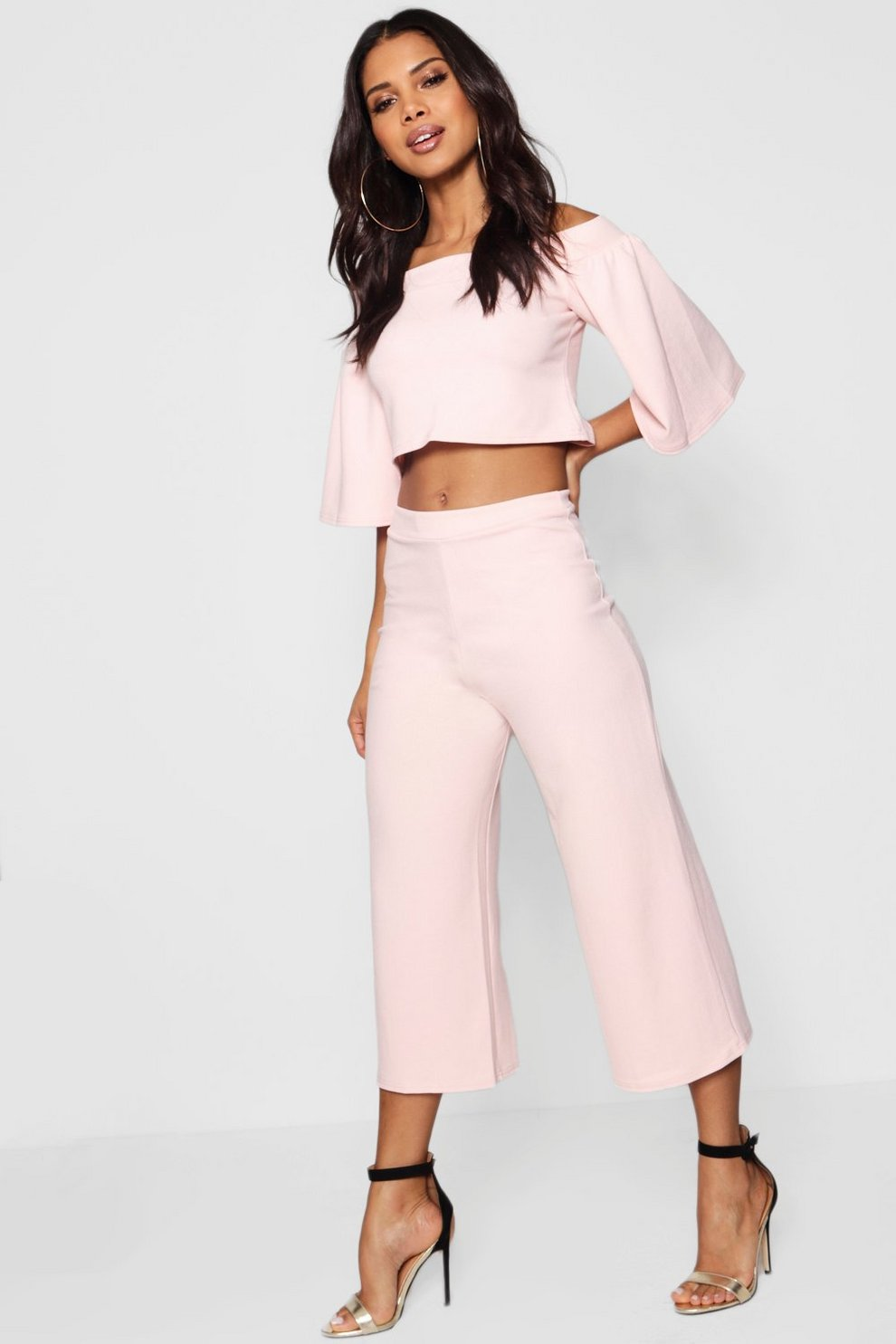 e33c1e926be Off Shoulder Crop & Culotte Co-ord Set | Boohoo