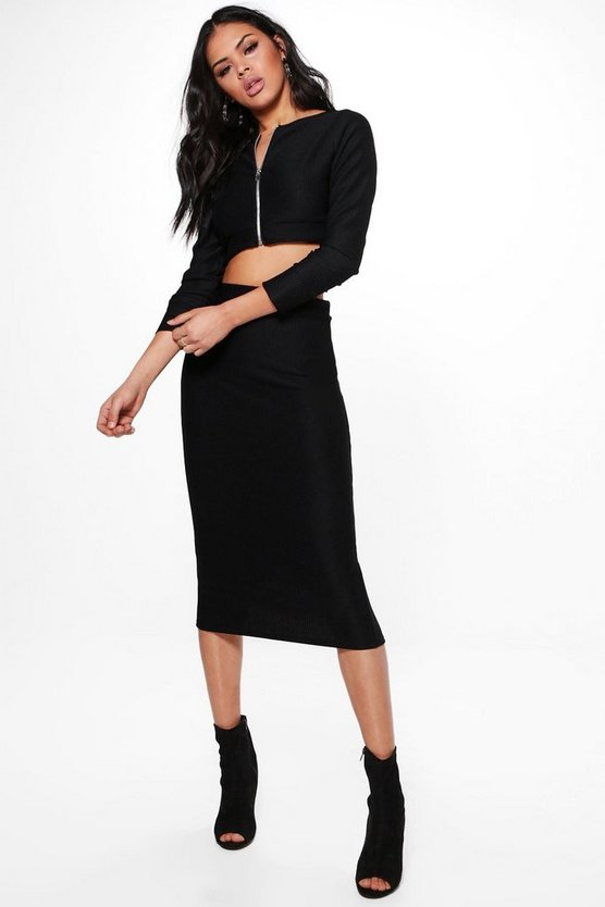 Lucy Deep Rib Crop & Midi Skirt Co-Ord Set