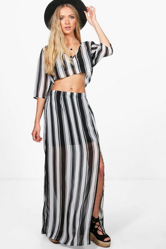 Nadia Stripe Crop & Split Maxi Co-Ord Set