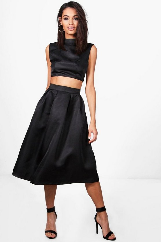 Susie High Neck Crop & Midi Skater Skirt Co-Ord