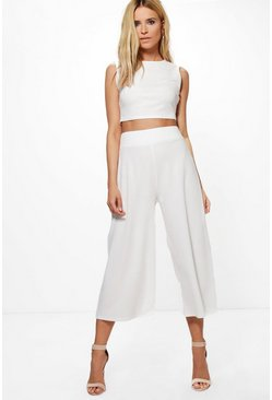 Womens Ivory Boxy Crop Top & Culotte Co-ord